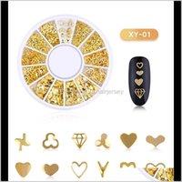 Decoraciones Salón Salud Belleza Drop Entrega 2021 10 Cajas 3D Gold Metal Cadena Beads Line Multi-Snake Bone DIY Nail Art Decoration In