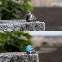 Krieger New Jewelry Set Türkis Titaniumstahl Ring, personalisierter Tiger Eye Stone Herrenring 812 R2