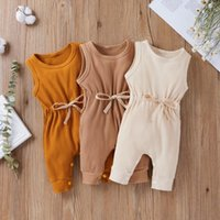 Clothing Sets Summer Baby Clothes Infant Boys&Girls Sleeveless Lace Up Solid Romper Jumpsuit Born Overalls