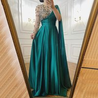 Saudi Arabic Green A Line Formal Evening Dresses Long Sleeve 2021 Luxury Crystals Beaded One Shoulder Satin Women Prom Party Gowns Pageant Dress