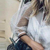 See Womens Blouses through Women Mesh Sheer Blouse Top Shirt...