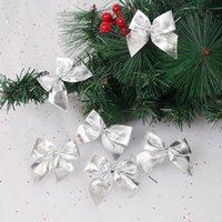 حزب الديكور 72 قطع عيد الميلاد bowknot شجرة زخرفة هدية التفاف حزام لامع القماش القوس ل (أحمر، ذهبي، سيل