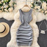 Yuoomuoo Ins Moda Seksi Mini Bodycon Elbise Kadınlar 2021 Yaz Ince Dantelli Tankı Kısa Katı Rahat Siyah Gömlek Elbiseler
