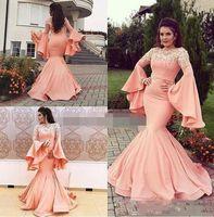 Estilo árabe Mermaid Prom Vestidos Trombeta Mangas compridas Lace Appliques Vestidos de Noite Zipper Vestido de Partido Dubai