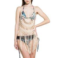 Fangnymph Mulheres Menina Crochet Borla Biquini Cobertura Up Hollow Cami Vest Beach Blusa Swimwear