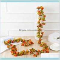 Wreaths Festive Party Supplies Garden250Cm Long Artificial Rose Flowers Vine Autumn Cane Backdrop Decor Silk Fake Rattan Garland For Wedding