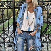 Women's Jackets Women Ladies Floral Beach Kimonos Blouse Chiffon Cardigan Shawl Cover Up Tops Summer TC21