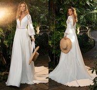 Modern Chiffon A Line Wedding Gowns 2021 Long Sleeves Lace V Neck Sexy Boho Garden Bridal Dress Court Train Open Back robes de mariée Beach Marriage Plus Size AL9002