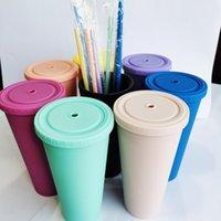 Mugs Pure Color Straw Sippy Cup With Water Bottle Vasos De Plástico Coffee