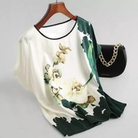 Floral Print Plus Size T-Shirt Blouse Tops Pullover Ladies Silk Satin Blouses T-shirts Batwing Sleeve Vintage Printed Casual Short Sleeve