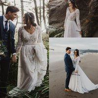 Boho Wedding Dresses for Bride Long Sleeve Lace Chiffon Beach country Bridal Gowns for Women Vestido De Noiva Robe De Mariee
