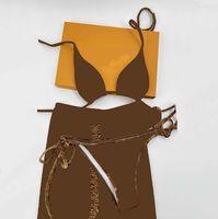 Classico Lettera Velluto Costumi da bagno 3 pezzi Set Designer Ladies Sling Bikini Stampato Costume da bagno all'aperto Summer Beach Swimming Wear