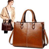 Handbags 100% Women Genuine Leather 2021 Cross-border Goods Simple Handbag Ms. Briefcase Shoulder Messenger Bags
