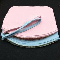 1pc 6.75x8.5in 12oz Blank Blank Cotton Bag Makeup BAG Rosa / blu Borsa cosmetica su tela con cinturino in cotone Trucco Sacchetto zip Zip
