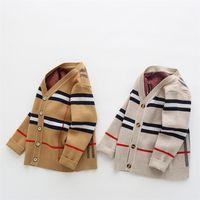 Höst Baby Boys Sweater Toddler Boys V-Neck Jumper Knitwear Långärmad Bomull Cardigans Barnkläder Kids Sweater Coat