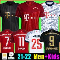 Bayern Soccer Jersey 21 21 22 Lewandowski Sane Munique Kimmich Coman Muller Davies Camisa de Futebol Homens Kit Kids 2021 2022 HumanRace Quarto 4º Tailandês