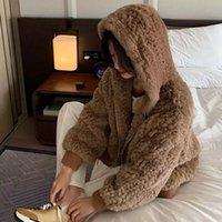 Women's Fur & Faux 2021 Fashion Women Winter Thick Warm Coat Female Hooded Long Sleeve Loose Rex Jacket Outwear M62
