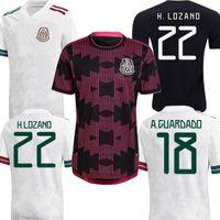 2021 Copa America Mexique H.Lozano Accueil Soccer Jerseys Blanc Black Black Rose Hommes Kit Kit Dos Santos Chicharito Sports Football Shirt