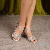 Silver Shoes For Ballroom Dancing Woman Flash Cloth Collocation Shine Rhinestone Latin Dance