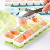 14 grade silicone quadrado caixa de gelo ferramentas de cozinha com tampa alimentício de qualidade bandeja molde bebê suplemento caixa