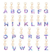 26 Initials Letter Pendant Key Chains for Women Acrylic Resin Keyrings Car Keys Ring Holders Bag Charm Jewelry Creative