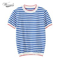 WarmSway fina de malha camiseta mulheres roupas 2021 verão mulher manga curta tees tops listrado t-shirt casual feminino B-019 Y0508