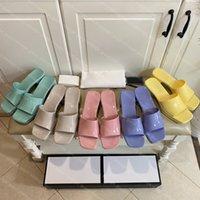2021 Mujeres Rubber Slide Platform Zapatillas de diseño de lujo zapatillas de tacones altos Chunky Bottom Bottom Outdoor Sandal Playa Flip Flops Parte Zapatillas Zapatos Candy con caja