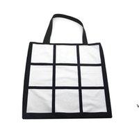 شبكة التسامي حمل حقيبة فارغة الأبيض diy نقل الحرارة حقيبة التسوق 9 لوحات reusable تخزين هدية حقيبة HWE6973