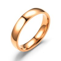 Simple Smooth Plate Stainless Ring, Inner Outer Spherical Titanium Ring for Men and Women, Gold Black Rose Steel