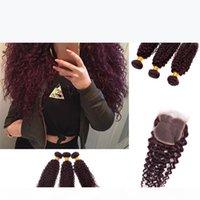 Burgunder Virgin Brasilianisches menschliches Haar Weberei 3 stücke Tiefe tiefe lockige Wein Rote Haare Gewebe 99J Kinky Curl Haar Bündel Tiefwelle mit Schließung