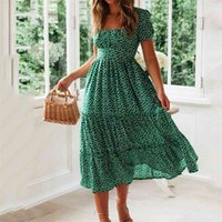 Vintage Print Puff Sleeve Dress Women Summer New Sweet Casual Square Collar Green Floral Print Long Dresses Slim Vestidos 210409