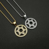 Pendant Necklaces Hip Hop Star Of David Necklace With Chain Gold Color Iced Out Hexagram Israel Men's Jewelry Drop