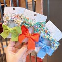 اكسسوارات للشعر 2 قطعة / المجموعة جميل bowknot الطفل مقاطع الكورية القماش زهرة الطباعة المشمعات الفتيات hairgrips الاطفال غطاء الرأس