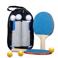 Tennis Tennis Raquets 2PCS / Lot Bat Raquette Poignée courte Pong Pag Paddle Sac Ensemble avec 6 balles Portable Porte-rack automatique