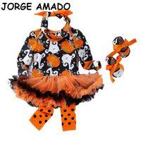 Baby Halloween Dress Pumpkin 1st Birthday Bodysuit+Shoes+Socks+Headband 4pcs Sets Girl Clothes YK013 210610