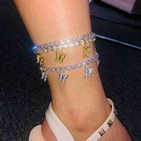 Braccialetto di fascino della cavigliera della cavigliera della caviglia della farfalla dell'oro Braccialetto di fascino della caviglia del boho della spiaggia per le donne Sandali Braccialetti del piede dei braccialetti femminili Gioielli di nozze femminili