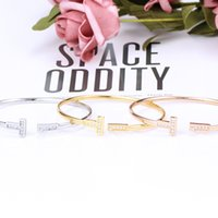 Crystal Gold Women silver Bangle Adjustable and Zircon Men Double T Shaped Jewelry Cuff Bracelets wedding Open Cross Cha8YK1