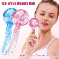 2pcs / lot grande Globes Magic Ice Globes Hockey Energy Face Massager Beauty Crystal Ball Sfera Vial Cooling Globe Wave Wave per massaggio oculare