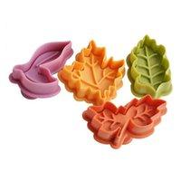 Cake Tools 1Set(4Pcs) Multi Usage Leaves Plunger Reusable Pie Crust Cutter Plastic Press Leaf Embosser For Cookie Fondant Colorful