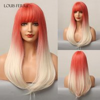 Cosplay Rote Perücken für Frauen Afro Lolita Orange Blondine synthetisch mit Pony Long gerade Hitzebeständige Faser
