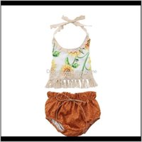 Sets Clothing Baby, & Maternityborn Kids Sunflower Set Baby Girls Flower Tassel Tops Shorts Outfits Sunsuit Drop Delivery 2021 Mhjta