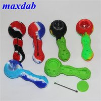 silicone mini smoking hand pipes with glass bowl wax dabber tools silicon oil burner pipe dab straw nectar collector