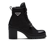 2021 designer gebürstetes leder und nylon geschnürte booties frauen knöchel stiefel ledern biker boot australia bootiess winterstiefel