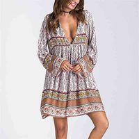 Teelynn Mini Kadınlar Elbise Boho Vintage Uzun Kollu Elbise Lioness Rayon Çiçek Baskı Sonbahar Elbiseler Plaj Günlük Elbiseler 210324
