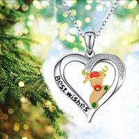 Silberne Weihnachten Elk Drop-Öl-Schnitzen Halskette für Frauen