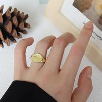 Geometric Round Gold-plated Glossy Ring Opening Adjustable Personality Punk Simple Ring Jewelry Gift Men and Women