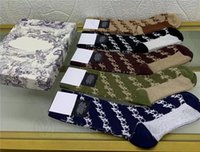 2021 Tasarımcılar Erkek Bayan Çorap Beş Lüks D Spor Kış Örgü Mektubu Baskılı Markalar Pamuk Adam Femal Çorap ile Kutusu Ile Set Hediye ES3689