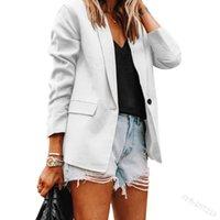 Women's Suits & Blazers 2021 Autumn Lapel Women's Coat Solid Color Slim Cardigan Suit Blazer Fashion Temperament Long Sleeve Jacket Fema