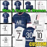 "21/22 Messi 30 7 Mbappe Hakimi 4 Sergio Ramos Wijnaldum Soccer Jersey PSG ""Paris"" Saint ""Germain"" Maillots Camisa de fútbol Marquinhos Men Kit Kit Uniforme"