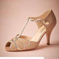 "Vintage Blush Wedding Shoes For Women Pumps T-Straps Buckle Closure Leather Party Dance 3"" High Heels Women Sandals Short Wedding Boots"